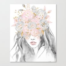 She Wore Flowers in Her Hair Rose Gold by Nature Magick Canvas Print