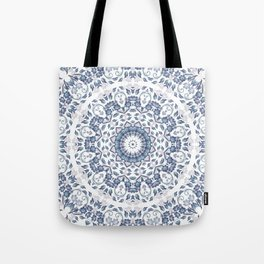 Grayish Blue White Flowers Mandala Tote Bag