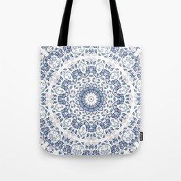 Grayish Blue White Flowers Mandala Tote Bag