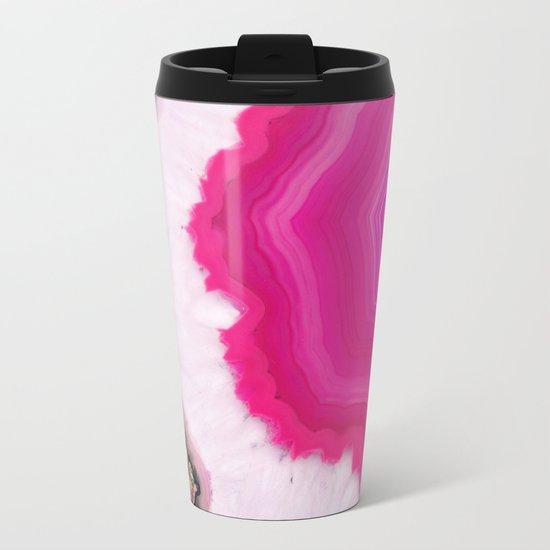 Pink Agate Slice Metal Travel Mug