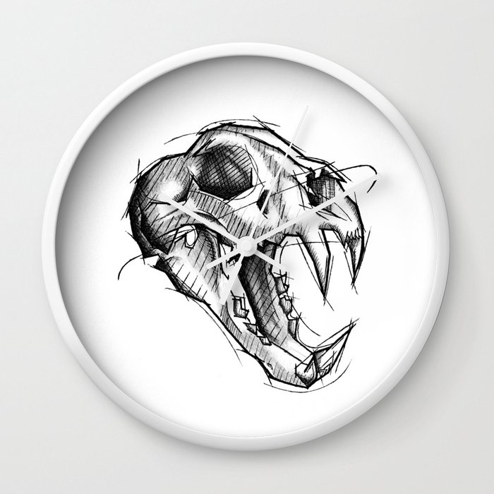 Tiger Skull Handmade Drawing Made In Pencil Charcoal And Ink Tattoo Sketch Tattoo Flash Sketch Wall Clock