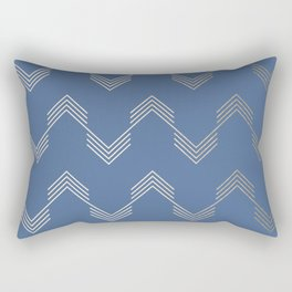 Simply Deconstructed Chevron White Gold Sands  on Aegean Blue Rectangular Pillow