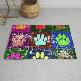 Distressed Dog Paws In Squares Rug