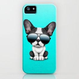 Cute French Bulldog Puppy Wearing Sunglasses iPhone Case