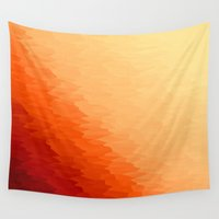 orange pattern Wall Tapestries featuring Orange Ombre by SimplyChic
