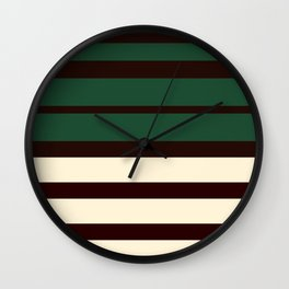 Horizontal Emerald Green  Cream Stripes Wall Clock
