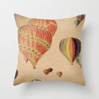 hot air balloons Throw Pillows featuring Hot Air Balloons by AdrienneW