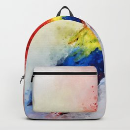Watercolour scarlet macaw parrot bird Backpack