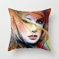 britney Throw Pillows featuring  britney spears  by mark ashkenazi