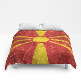 Vintage Aged and Scratched Macedonian Flag Comforters