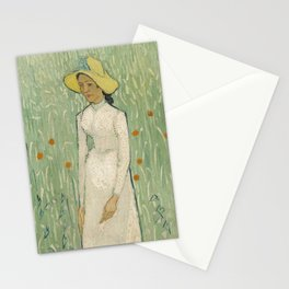 Girl in White, 1890 by Vincent Van Gogh Stationery Cards