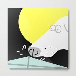 Dog Sniffing Kite by the Light of the Moon Metal Print