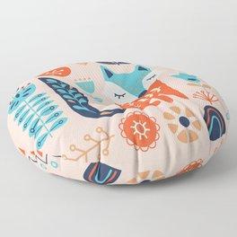 Soft And Sweet Scandinavian Fox Folk Art Floor Pillow