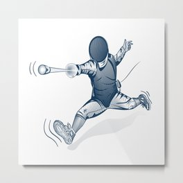 Fencer. Print for t-shirt. Vector engraving illustration. Metal Print