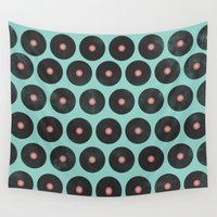 records Wall Tapestries featuring Vinyl Records Pattern by Allyson Johnson
