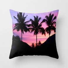 Sunset Palm Trees Throw Pillow