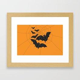Flying Bats orange Framed Art Print