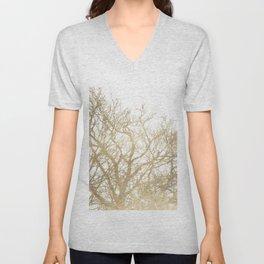 Elegant botanical gold foil tree  branch Unisex V-Neck