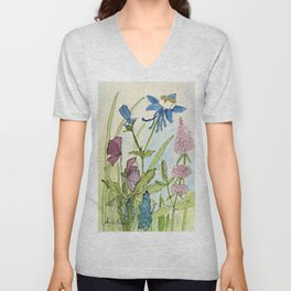 Columbine Garden Flower Watercolor Unisex V-Neck