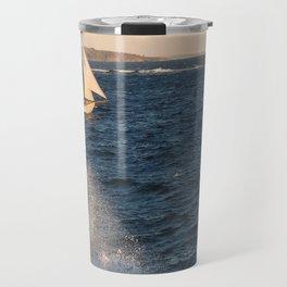 A ship, a wave and a lighthouse Travel Mug