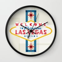 las vegas Wall Clocks featuring Las Vegas by Fimbis