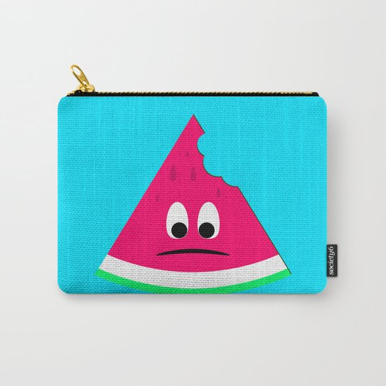 Cute sad bitten piece of watermelon Carry-All Pouch