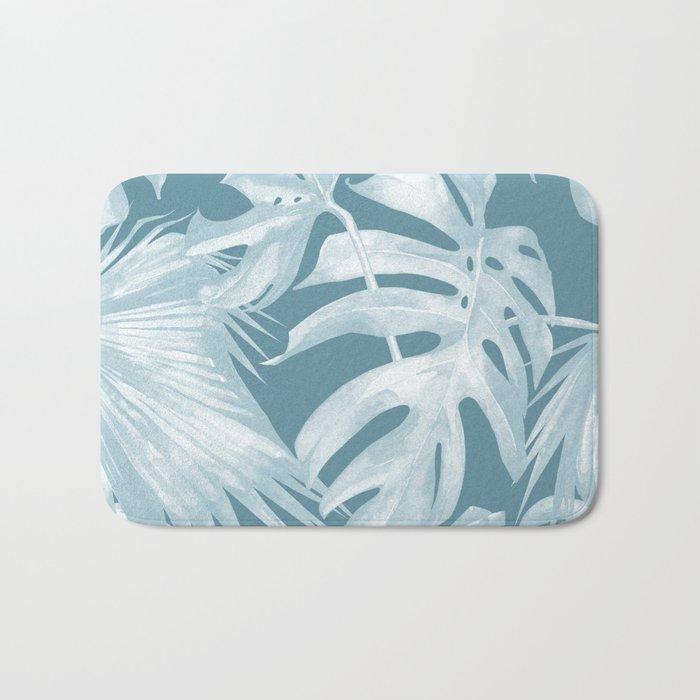 Teal Blue Tropical Palm Leaves Bath Mat