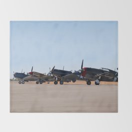 WW2 Warbirds Line-up, Sonoma County Airport, California Throw Blanket