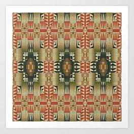 Orange Red Olive Green Native American Indian Mosaic Pattern Kunstdrucke