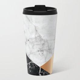 White Marble Black Granite & Rose Gold #715 Travel Mug