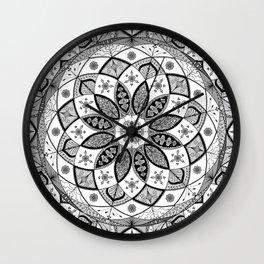 Mandala black white art pattern floral design Wall Clock