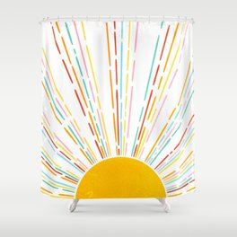 Retro Sunburst: Rainbow Edition Shower Curtain