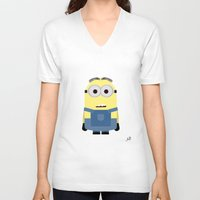 minion V-neck T-shirts featuring Minion by finkledink1997