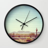 desert Wall Clocks featuring Desert by Whitney Retter