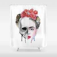 frida kahlo Shower Curtains featuring Frida Kahlo  by Karol Gallegos Carrera