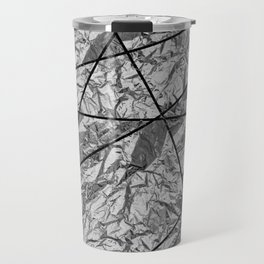 Shiny silver gray foil mosaic with marble Travel Mug