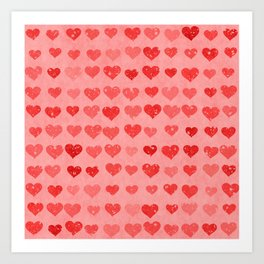 Pink Valentines Love Hearts Art Print