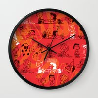 snoopy Wall Clocks featuring SNOOPY AAUGH! by d.ts