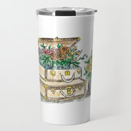 Flower Suit Cases Travel Mug