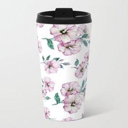 PINK FLOWERS WATERCOLOR Metal Travel Mug