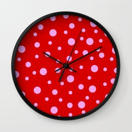 Pink Dots on Red Wall Clock