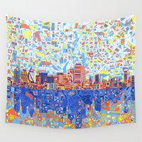 dallas Wall Tapestries featuring dallas city skyline by Bekim ART