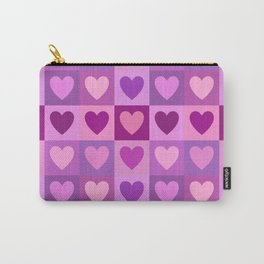 Hearts 3x3 Pinks Purples Mauves Carry-All Pouch