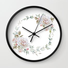Watercolor White Rose Wreath Wall Clock