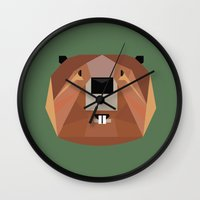 beaver Wall Clocks featuring Beaver by Alysha Dawn