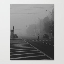 old man crossing the street Canvas Print