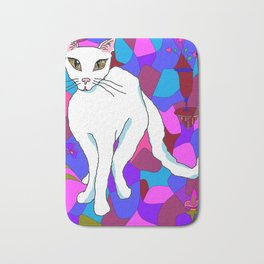 Pretty White Kitty in the Window - Stained Window Bath Mat