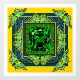YELLOW  DECORATIVE  GREEN EMERALD GEM & BUTTERFLY ART Art Print