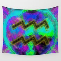 aquarius Wall Tapestries featuring Aquarius by Synesthetic