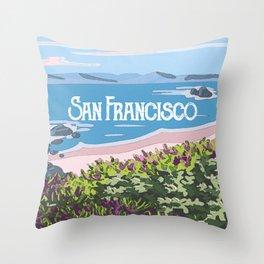 San Francisco, California Beach Succulents Illustration Throw Pillow